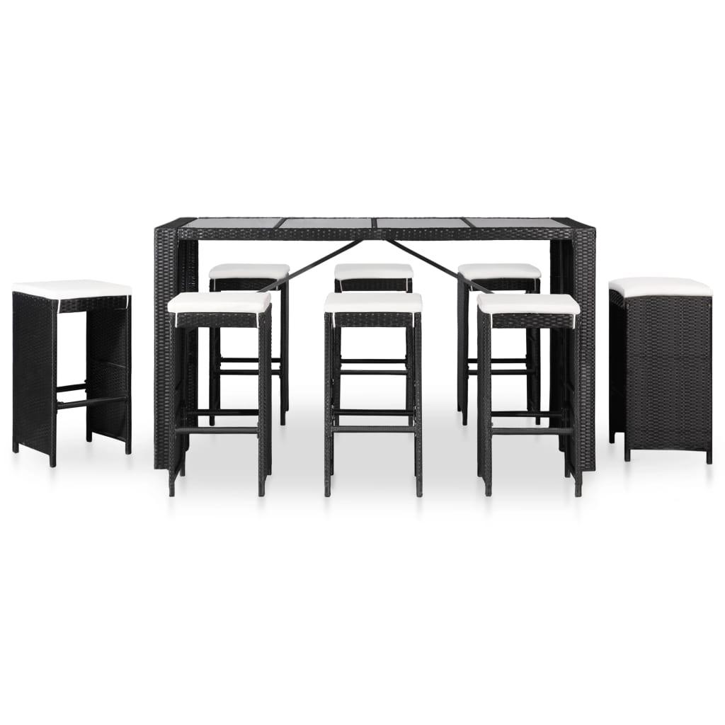 vidaXL 9-delige Tuinset poly rattan zwart
