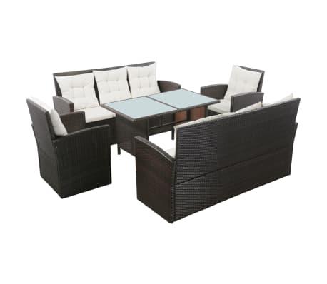 vidaXL 5 Piece Garden Lounge Set with Cushions Poly Rattan Brown