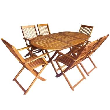 vidaXL 7 Piece Folding Outdoor Dining Set Solid Eucalyptus Wood[1/8]
