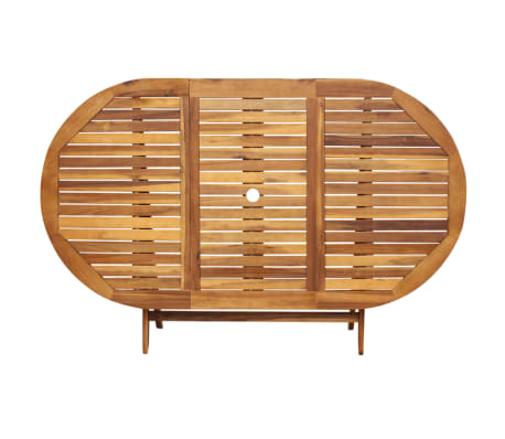 vidaXL 7 Piece Folding Outdoor Dining Set Solid Eucalyptus Wood[3/8]