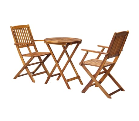 Vidaxl 3 Piece Folding Bistro Set Solid Eucalyptus Wood Vidaxl Com