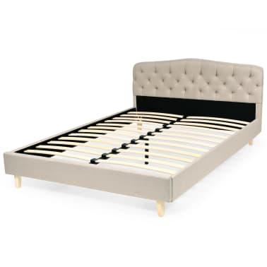 vidaXL Bett mit Matratze 140 x 200 cm Textilgewebe Beige[3/13]