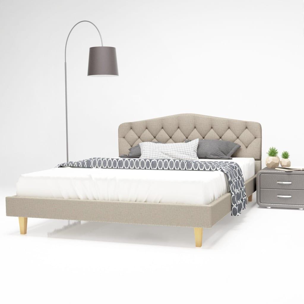 vidaXL Postel s matrací 140 x 200 cm textilní čalounění béžová