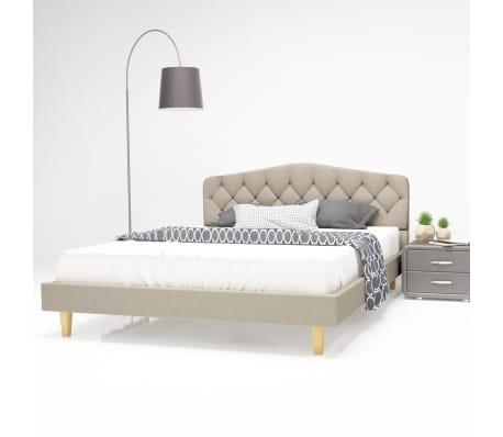 vidaXL Bett mit Matratze 140 x 200 cm Textilgewebe Beige[1/13]