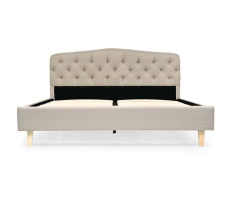 vidaXL Bett mit Memory-Schaum-Matratze 140 x 200 cm Textilgewebe Beige[4/15]
