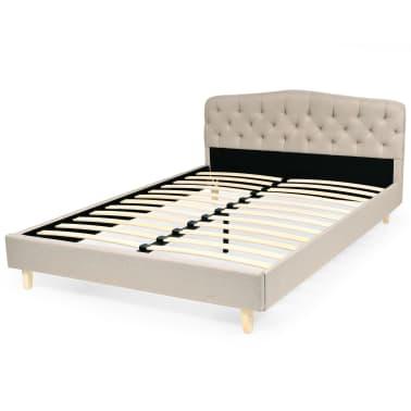 vidaXL Bett mit Memory-Schaum-Matratze 140 x 200 cm Textilgewebe Beige[3/15]
