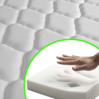 vidaXL Bett mit Memory-Schaum-Matratze 140 x 200 cm Textilgewebe Beige[11/15]