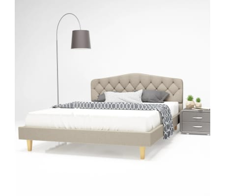 vidaXL Bett mit Memory-Schaum-Matratze 140 x 200 cm Textilgewebe Beige[1/15]