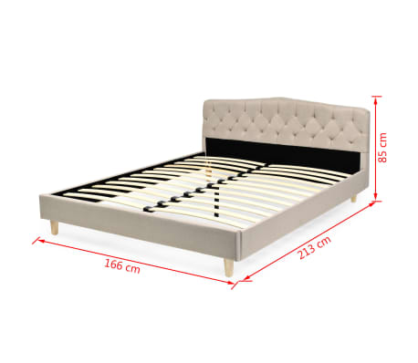 vidaXL Bett mit Memory-Schaum-Matratze 160 x 200 cm Stoff Beige[15/15]