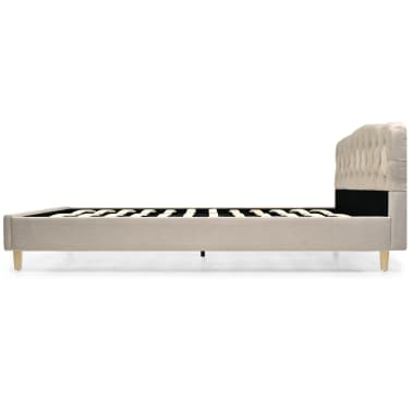 vidaXL Bett mit Memory-Schaum-Matratze 160 x 200 cm Stoff Beige[5/15]
