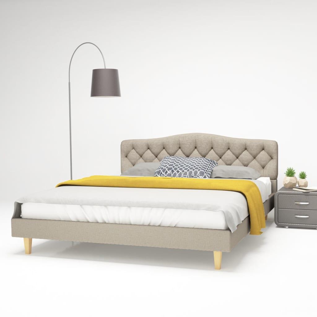 vidaXL Κρεβάτι Μπεζ 160 x 200 εκ. Υφασμάτινο με Στρώμα Αφρού Μνήμης