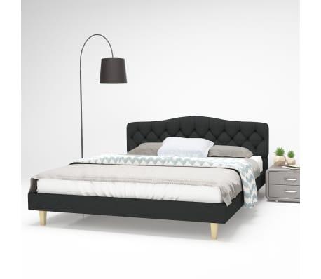 vidaXL Bett mit Memory-Schaum-Matratze 160 x 200 cm Stoff Dunkelgrau[1/15]