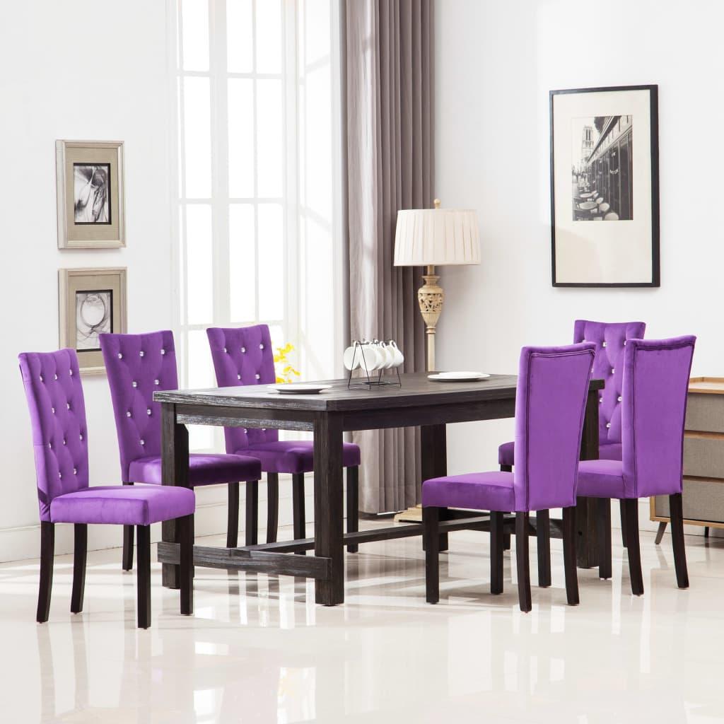 vidaXL Καρέκλες Τραπεζαρίας 6 τεμ. Μοβ Βελούδινες