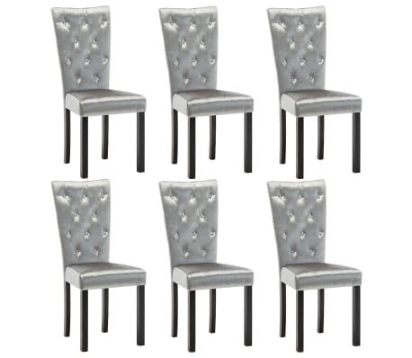 vidaXL Dining Chairs 6 pcs Silver Velvet