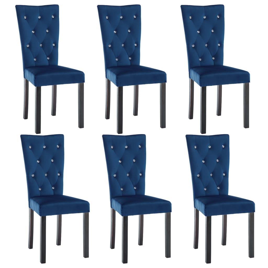 vidaXL Καρέκλες Τραπεζαρίας 6 τεμ. Σκούρο Μπλε Βελούδινες