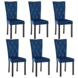 vidaXL Valgomojo kėdės, 6 vnt., aksominė tamsiai mėl.