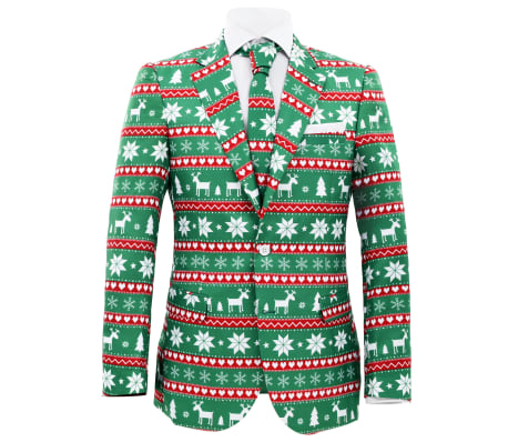 vidaXL Κοστούμι Ανδρικό Χριστουγεννιάτικο 2 τεμ. Πράσινο 48 με Γραβάτα[2/10]