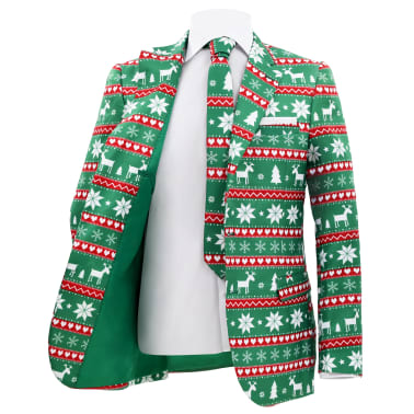 vidaXL Κοστούμι Ανδρικό Χριστουγεννιάτικο 2 τεμ. Πράσινο 48 με Γραβάτα[3/10]