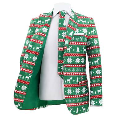 vidaXL Świąteczny garnitur męski z krawatem, 2-częściowy, 50, zielony[3/10]