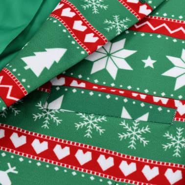 vidaXL Świąteczny garnitur męski z krawatem, 2-częściowy, 50, zielony[4/10]