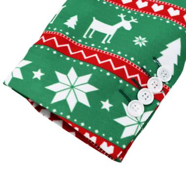 vidaXL Świąteczny garnitur męski z krawatem, 2-częściowy, 50, zielony[5/10]
