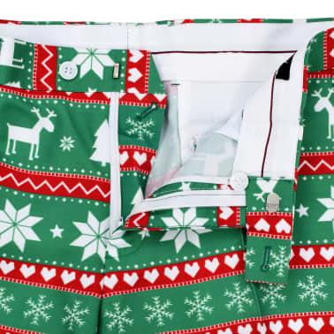 vidaXL Świąteczny garnitur męski z krawatem, 2-częściowy, 50, zielony[8/10]