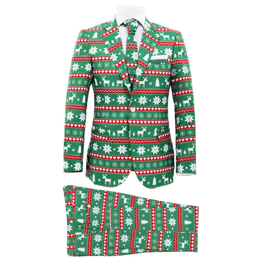 vidaXL Costum bărbătesc Crăciun, 2 piese, cravată, verde, mărimea 52 vidaxl.ro