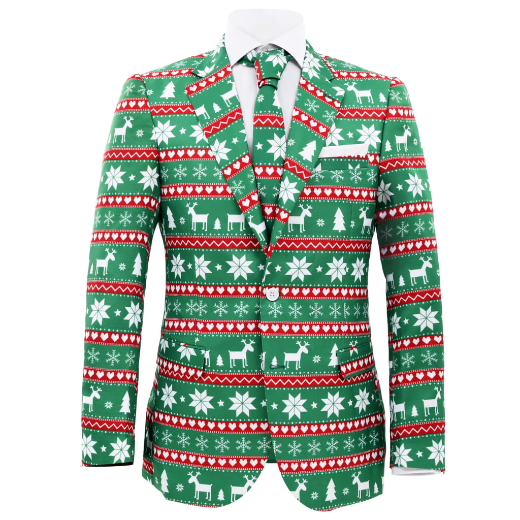 vidaXL 2dílný pánský vánoční oblek s kravatou vel. 52 sváteční zelený
