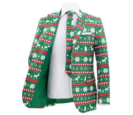 vidaXL Costum bărbătesc Crăciun, 2 piese, cravată, verde, mărimea 52[3/10]
