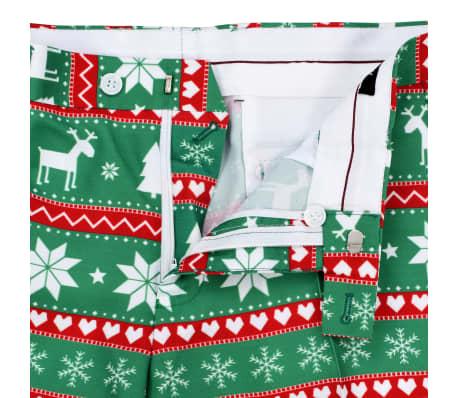 vidaXL Costum bărbătesc Crăciun, 2 piese, cravată, verde, mărimea 52[8/10]
