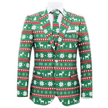 vidaXL Costum bărbătesc Crăciun, 2 piese, cravată, verde, mărimea 52[2/10]