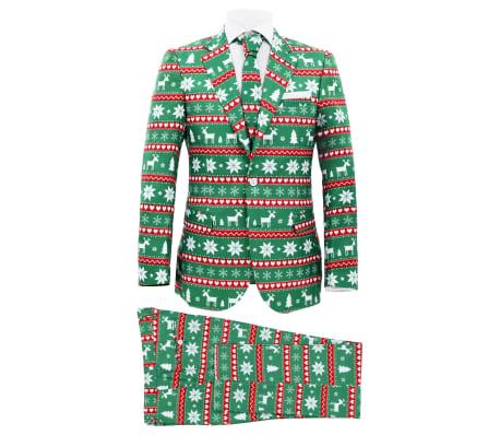 vidaXL 2-osaline meeste jõuluülikond koos lipsuga, suurus 54, roheline