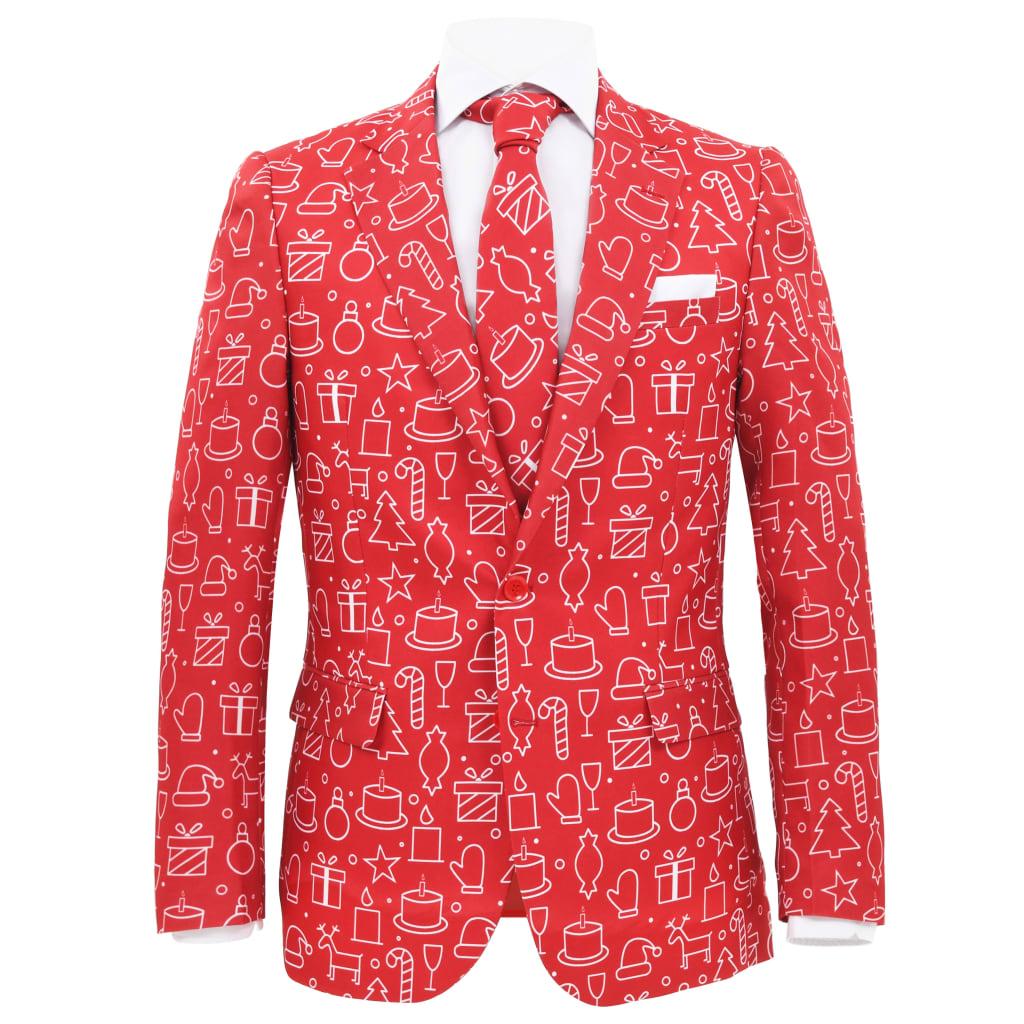 vidaXL 2dílný pánský vánoční oblek a kravata velikost 46 dárky červený