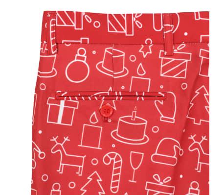 vidaXL Costum bărbătesc Crăciun, 2 piese, cravată, roșu, mărimea 48[9/10]