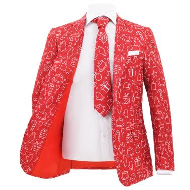 vidaXL Costum bărbătesc Crăciun, 2 piese, cravată, roșu, mărimea 48[3/10]