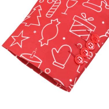 vidaXL Costum bărbătesc Crăciun, 2 piese, cravată, roșu, mărimea 48[5/10]