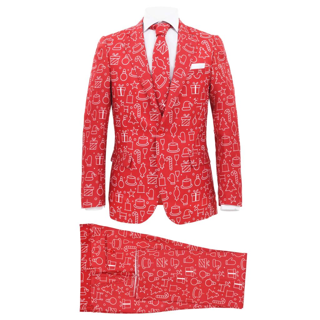vidaXL Costum bărbătesc Crăciun, 2 piese, cravată, roșu, mărimea 50 vidaxl.ro