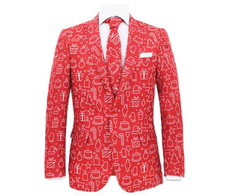 vidaXL 2-tlg. Weihnachtsanzug mit Krawatte Herren Größe 50 Rot[2/10]