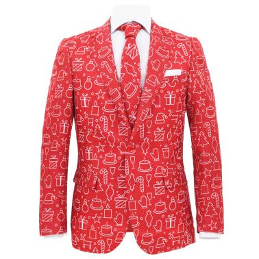 vidaXL Completo Uomo 2 pz con Cravatta Taglia 50 Tema Festivo Rosso[2/10]