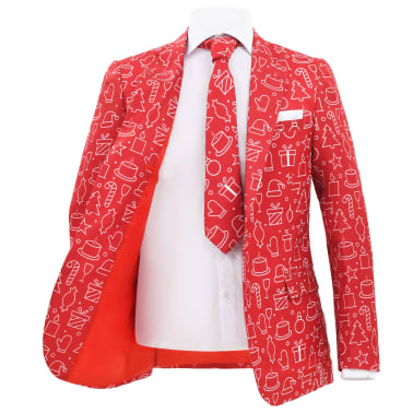 vidaXL Costume 2 pièces Noël et cravate Homme Taille 54 Cadeaux Rouge[3/10]
