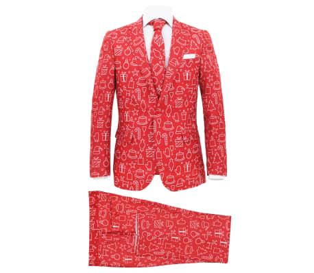 vidaXL Costum bărbătesc Crăciun, 2 piese, cravată, roșu, mărimea 56[1/10]
