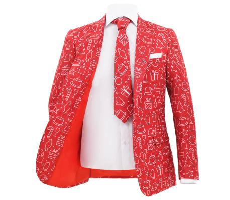 vidaXL Costum bărbătesc Crăciun, 2 piese, cravată, roșu, mărimea 56[3/10]