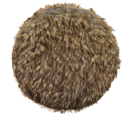 vidaXL Tabouret Fausse fourrure Rond 28 x 40 cm Marron[2/5]