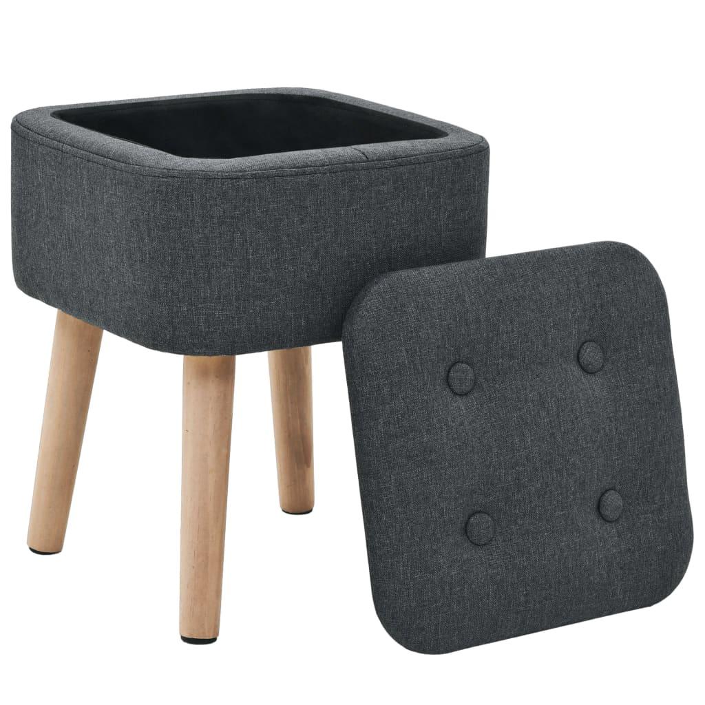 Stolička s úložným prostorem tmavě šedá textil