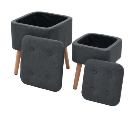 vidaXL Zestaw prostokątnych stołków ze schowkiem, 2 szt., ciemnoszary[1/11]