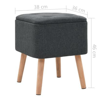 vidaXL Zestaw prostokątnych stołków ze schowkiem, 2 szt., ciemnoszary[10/11]