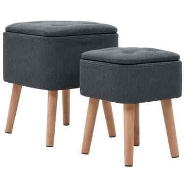 vidaXL Zestaw prostokątnych stołków ze schowkiem, 2 szt., ciemnoszary[2/11]