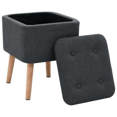 vidaXL Zestaw prostokątnych stołków ze schowkiem, 2 szt., ciemnoszary[6/11]