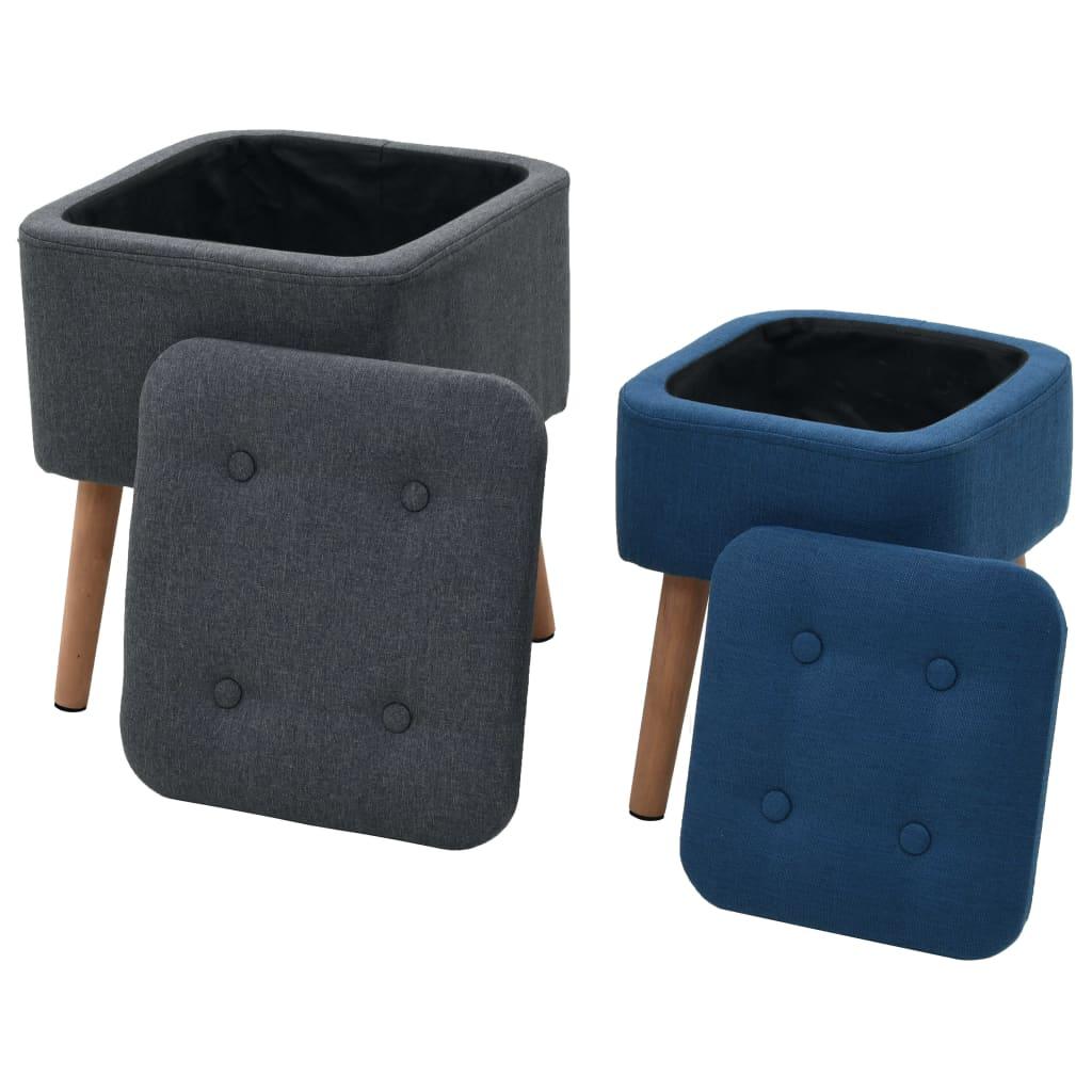 vidaXL Taburete cu depozitare, 2 buc., albastru și gri închis, textil poza vidaxl.ro
