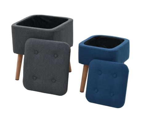 vidaXL Stołki ze schowkami, 2 szt., ciemnoszary/niebieski, tkanina